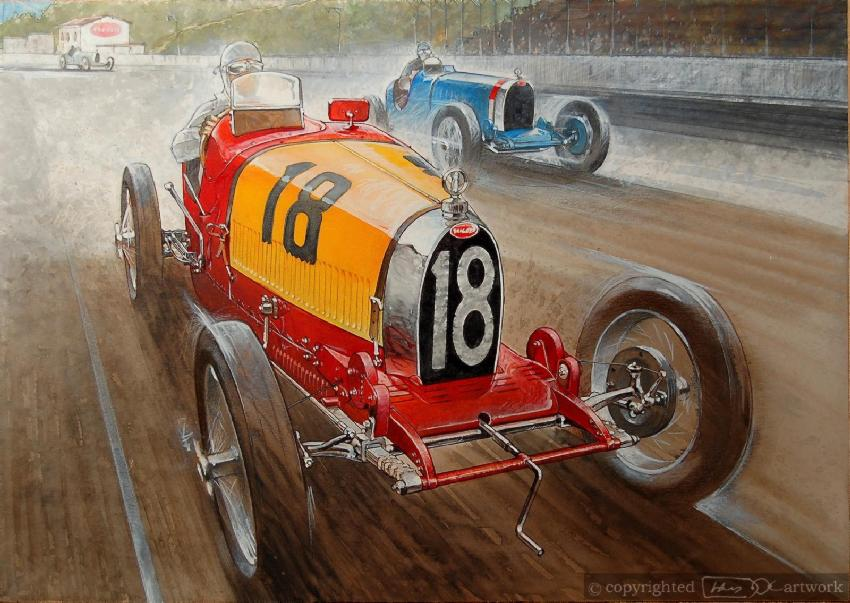 This Is The 4 Cilinder Bugatti 37 Driven By Francisco Torres In The 1928 San Sebastian Grand Prix At The Lasarte Circuit Painted Red And Yellow