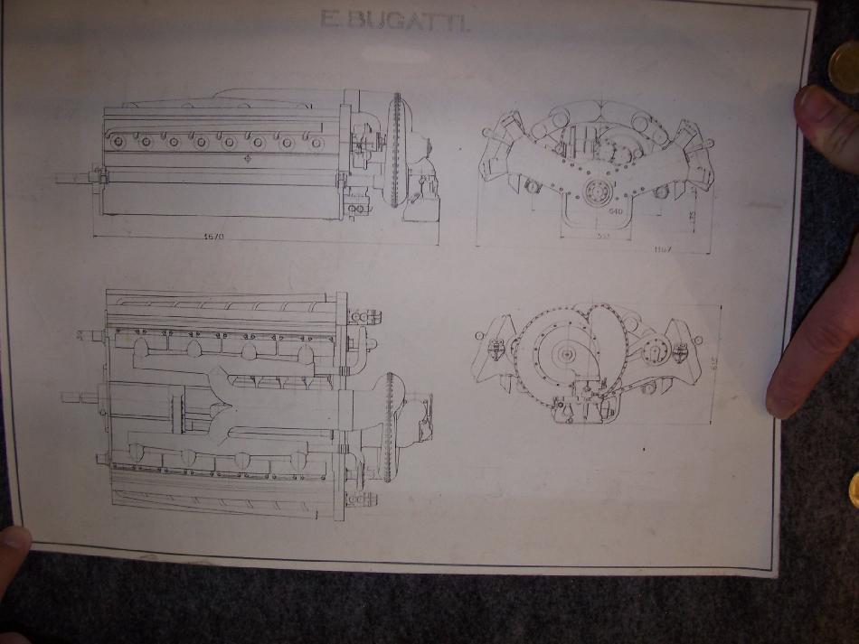 Original print of V16 Bugatti T67 Aero-engine design from 1939